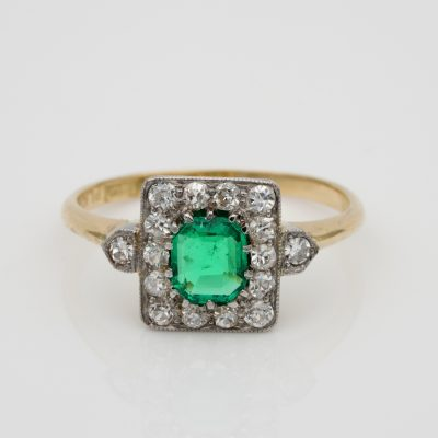 Art Deco Fine Quality .60 Ct Colombian Emerald .50 Ct Diamond Plat Gold Ring