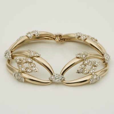 Retro Fantastic 4.0 Ct Diamond Omega Links 18 Kt Gold Bracelet