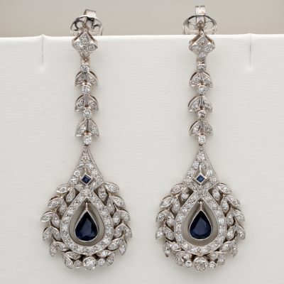 Early Art Deco Diamond Sapphire Long Drop Earrings Platinum