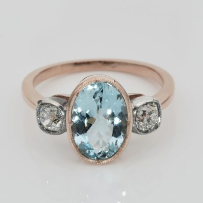 Art Deco 3.00 Ct Natural Aquamarine .50 Ct Old Mine Diamond Trilogy Ring