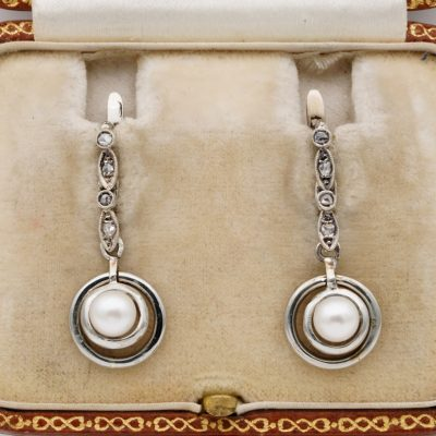 Edwardian Diamond Pearl Platinum Swing Earrings