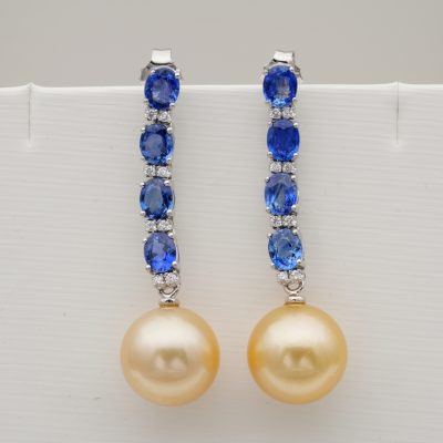 Vintage 12.5 mm. Gold  Pearl 4.00 Ct Natural Sapphire Diamond Drop Earrings