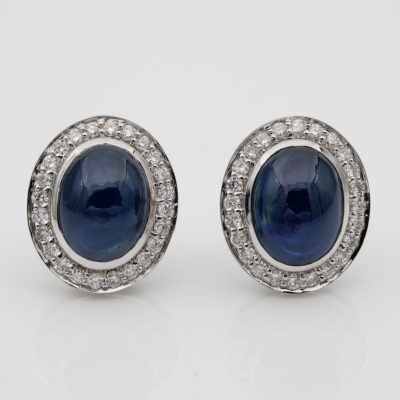 Quality 6.50 Ct. Untreated Natural Sapphire Diamond Platinum Stud earrings