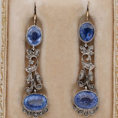 Art Nouveau 13.70 Ct Certified Natural Ceylon Sapphire Diamond Rare Drop Earrings