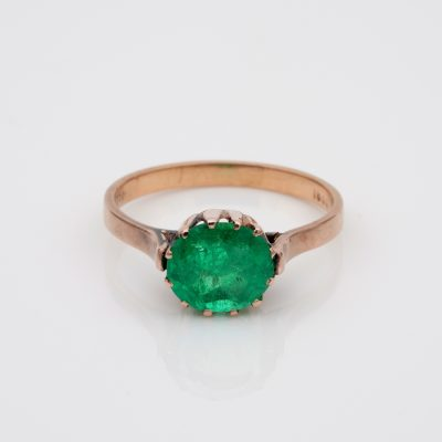 Victorian rare 1.85 Ct Colombian Emerald solitaire ring 18 KT rose gold