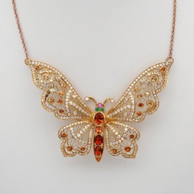 Impressive Mid Century 5.20 Ct Madeira Citrine 5.20 Ct Diamond Butterfly Pendant