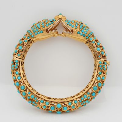 Etruscan Revival  Persian Turquoise Snake Bangle 74 Grams 14 Kt Bangle