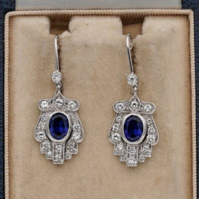 Late Art Deco 1.40 Ct Verneuil Sapphire 1.10 Ct Diamond Drop earrings