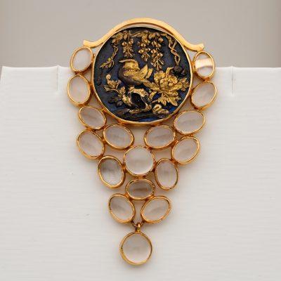 Impressive Antique Shakudo 10.00 Ct Moonstone 18 KT Brooch Pendant