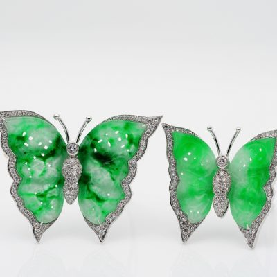Vintage  Rare Natural Jade 2.48 Ct  Diamond Twin Butterfly Brooches