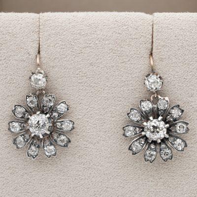Victorian 3.00 Ct Old mine Diamond Prettiest Flower Drop Earrings