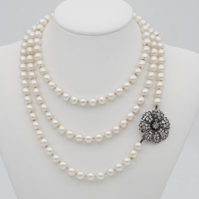 Victorian Long Sautoir Pearl Necklace 3.00 Ct Old  Diamond Flower Clasp