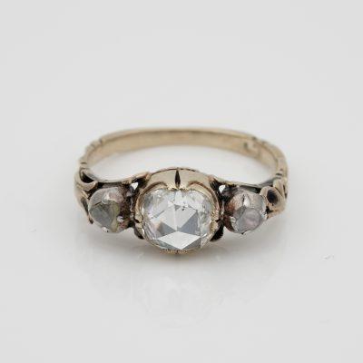 Georgian/Victorian 1.30 CT  Plus Rose Cut Diamond Trilogy Ring
