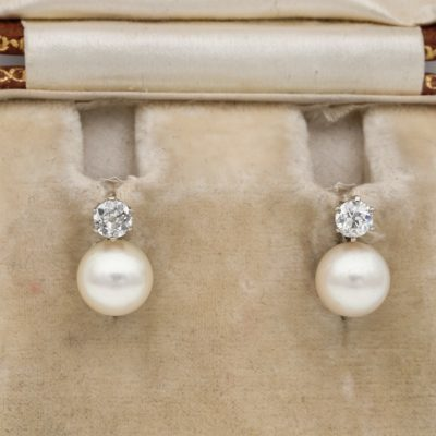 Gorgeous Art Deco 7 mm. Salt Sea Pearl .20 Ct Old Mine Diamond Solitaire Earrings