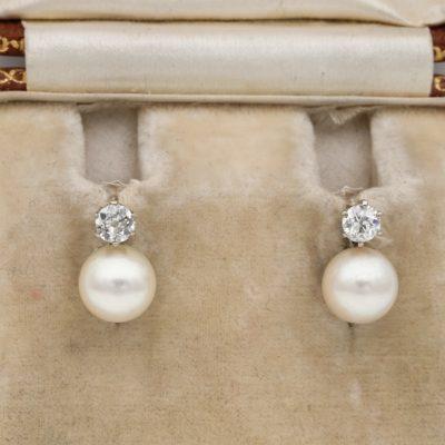 Art Deco 7 mm. Salt Sea Pearl .20 Ct Old Mine Diamond Solitaire Earrings