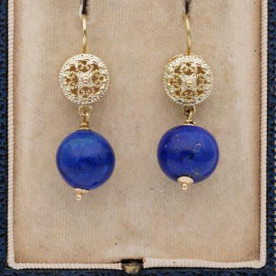 Vintage Etruscan Revival Lapis lazuli Swing earrings 1950 ca!