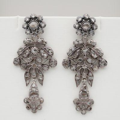 Rare Georgian/Victorian 2.80 Ct Rose Cut Diamond Giardinetti Long Earrings