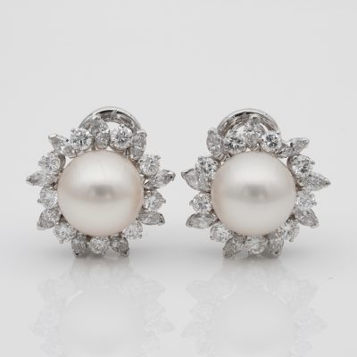 Magnificent 10 mm. South Sea Pearl 3.20 Ct Diamond Vintage Earrings