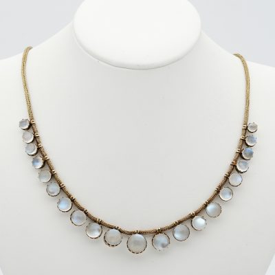 1870 ca Victorian 36.00 Ct Moonstone Snake Chain 18 KT Necklace