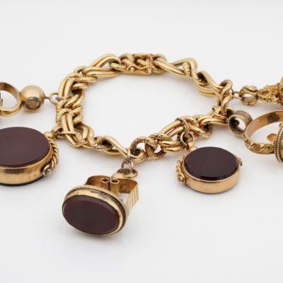 Antique Six Fobs Charm Bracelet 9KT/14 KT Gold