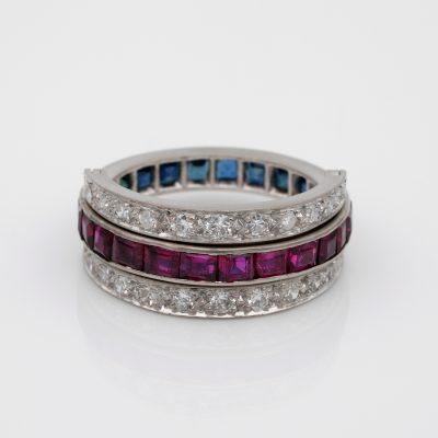 Art Deco 2.40 Ct Between Sapphire Ruby .90 Ct Diamond Night & Day Flip Ring