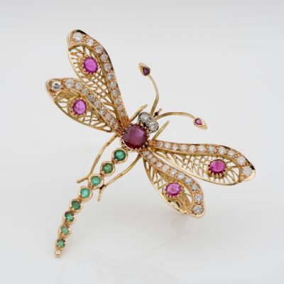 Stunning Retro 7.40 Ct Diamond Ruby Emerald Jewelled Dragonfly Brooch