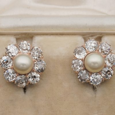 Victorian 7 mm. Natural Pearl 4.80 old cut Diamond Earrings
