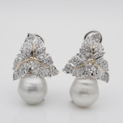 Vintage Jumbo Baroque South Sea 3.0 CT Diamond Leaf Unique Earrings