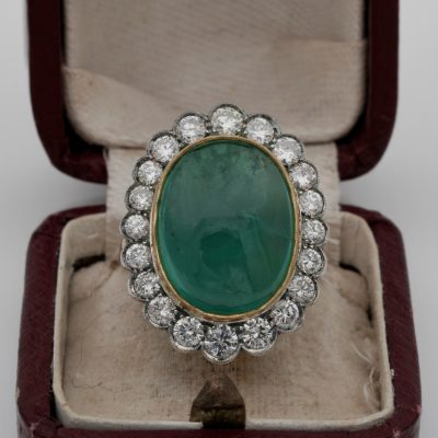 Edwardian 14.90 Ct  Emerald 2.80 Ct Diamond Rare Large sized ring