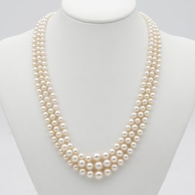 Art Deco Triple Strand Pearl Diamond Necklace 1920 ca.