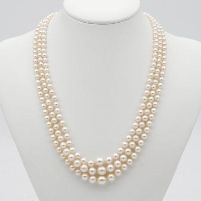 Art Deco Triple Strand Pearl Diamond Necklace 1920 ca.