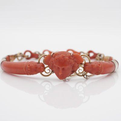 Georgian Rare Minerva Lions Sciacca Coral 18 KT Bracelet