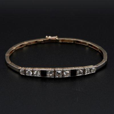 Edwardian 2.30 Ct Diamond Onyx Line Bracelet 18 KT/Platinum