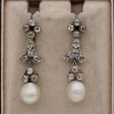 Victorian Natural Basra Pearl 2.40 Ct Diamond drop earrings