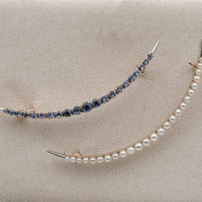 Edwardian Rare Twin Celestial Crescent Brooches Natural Pearls Natural Sapphire 1900 ca