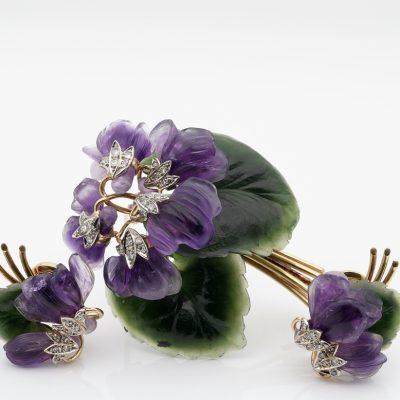 Vienna 1922 Carved Amethyst Nephrite Diamond Bunch Violet Brooch Earrings Suite