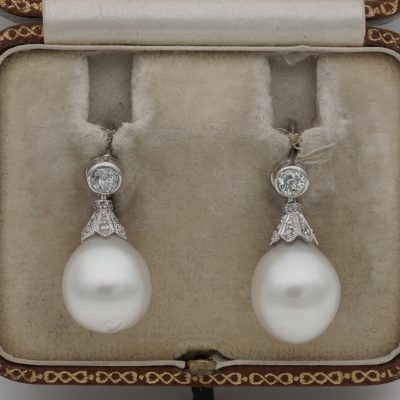 Art Deco Large South Sea Pearl Rose Cut Diamond and More .55 Ct Rare Earrings