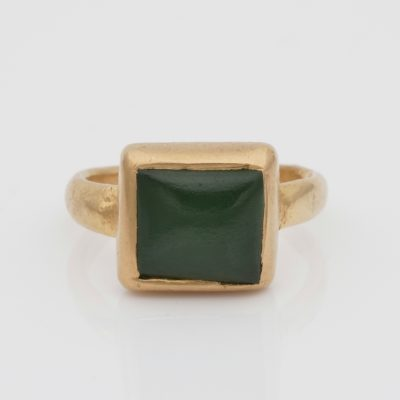Rare Georgian /Victorian Natural Jade  22/24 KT Unisex solid gold solitaire ring