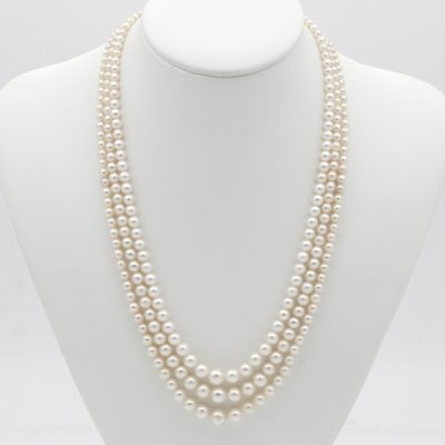 Antique Triple Strand Cultured Pearls 2.1 mm. to 7.2 mm. Rose Cut Diamond Clasp