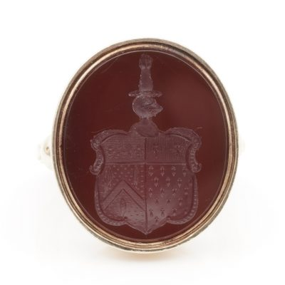 An Antique Carnelian Coat Of Arms Intaglio Seal Ring English 1868 marks 18 KT gold