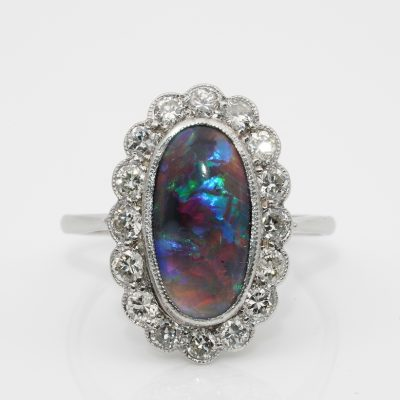 Edwardian Rare 1.90 Ct Ct Black Opal .80 Ct Diamond Platinum Engagement Ring