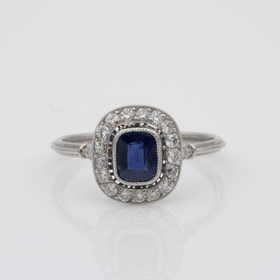 Art Deco .77 Ct Natural No Heat Ceylon Sapphire .55 Ct Diamond Platinum Ring