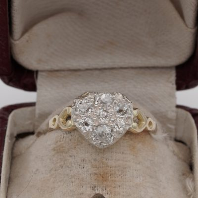 Antique Victorian 1.10 Ct Old Mine Diamond Sweet Heart ring