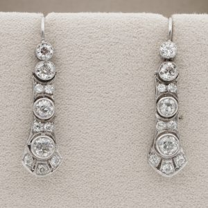 Art Deco diamond drop earrings early 20th Century