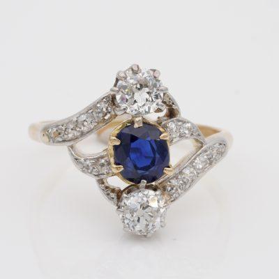 Art Nouveau .90 Ct Natural No Heat Sapphire 1.20 Ct Old Mine Diamond Ring