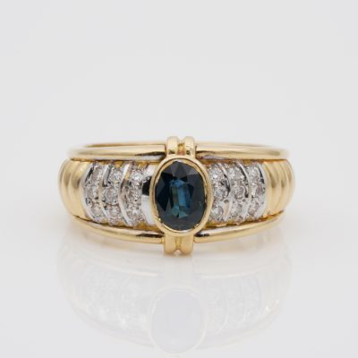 French 1.0 Ct Natural Sapphire .35 Ct Diamond late mid-century Unique Ring