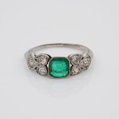 Art Nouveau .60 Ct Colombian Emerald .50 Ct Old Mine Diamond Ring
