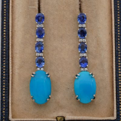 Persian Turquoise 4.0 Ct Natural Ceylon Sapphire Diamond Drop Earrings