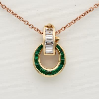 Charming Mid Century Emerald Baguette Diamond Chain Enhancer Pendant & Chain