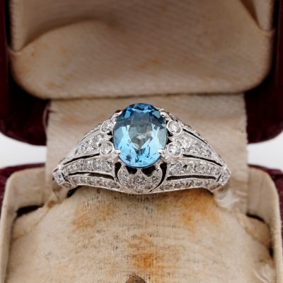 Stunning Mid Century Aquamarine & Diamond 18 Kt Rare Ring